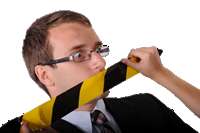 Business man being gagged